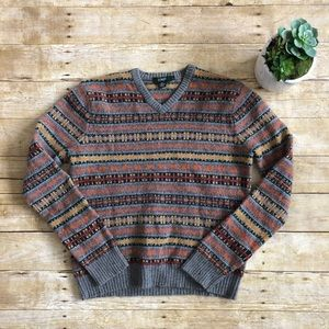 J. CREW vintage patterned lambswool sweater